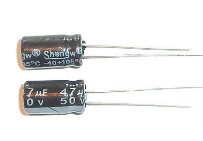 E-projects - 47uf 50v 105c Radial Electrolytic Capacitor 5 Pcs