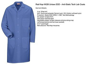 ESD Anti-Static Premium Lab Jacket Coat Unisex KK28 Red Kap Blue or White -