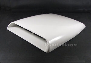 White-Car-Decorative-Air-Flow-Intake-Hood-Scoop-Bonnet-Vent-Cover-Universal