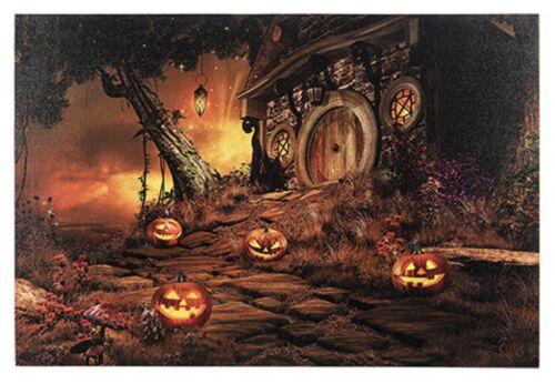 "Halloween LED Lighted Canvas w/Haunted House & Jack-O-Lanterns-23.62"" Wx15.75"" H"