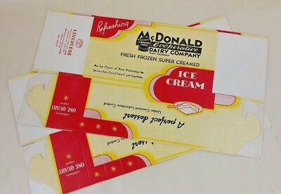 McDonald Dairy Flint Michigan Ice Cream Quart Paper Containers (2) 1938 UNUSED - Ice Cream Containers