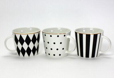 Schwarz, Weiß, Kaffee (Kaffeebecher Tasse Favorite (V39840) Porzellan schwarz-weiß Goldrand)
