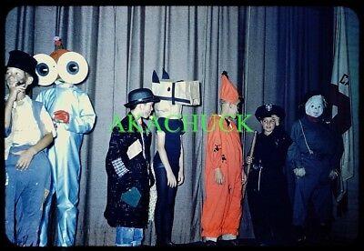 7 Original Slides HALLOWEEN 1960 Costume Contest ELEMENTARY SCHOOL Alien Cop - Halloween Coloring Contest
