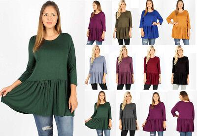 Women's Plus Ruffle Swing Hem Tunic Top Soft Knit Shirt 3/4 Sleeve Loose Flowy 3/4 Sleeve Knit Top