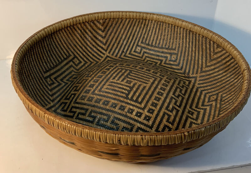 "RARE Vintage Yekuana Guapa Basket Bowl Indian Tribe Venezuelan Amazon Jungle 15"""