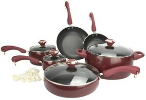 New Paula Deen 15-Piece Kitchen Porcelain Cookware Set Nonstick Pots Pans