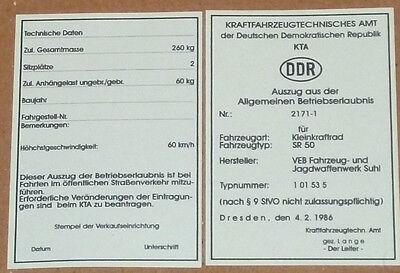Betriebserlaubnis,Allgemeine Betriebserlaubnis,SR50,Roller,Simson,Moped,Oldtimer