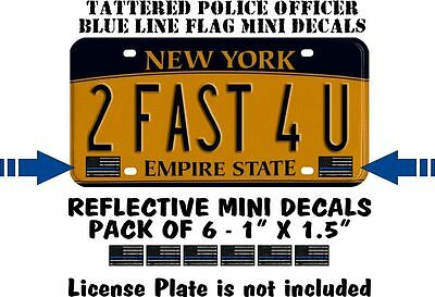 Tattered Police Officer Thin Blue Line x 6  reflective Mini American Flag Decals