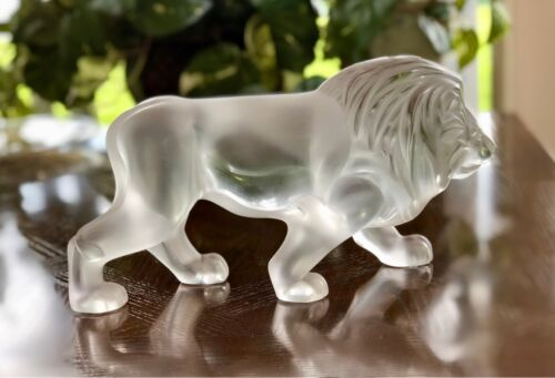 Lalique French Crystal Regulus Lion Perfect Mint Condition Signed 11.5""