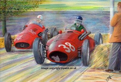 A3 ART PRINT -MIKE HAWTHORN -  FERRARI SQUALO- 1954