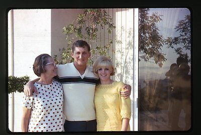 1960s Photo slide Lady with Teen boy and girl  Teenagers Cat eye glasses