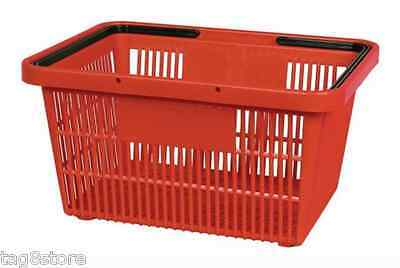 Red Plastic Grocery Store Market Shopping Basket Eco Environmentally Friendly
