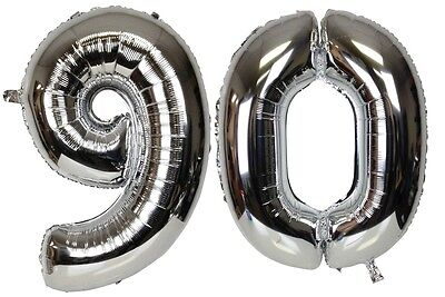 16 inch 90 Silver Number Balloons 90th Birthday Party Anniversary Foil Balloon