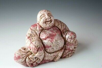 ~HAPPY SITTING BUDDHA Figurine ~ Finely Carved RHODOCHROSITE Gem Stone ~ Carving