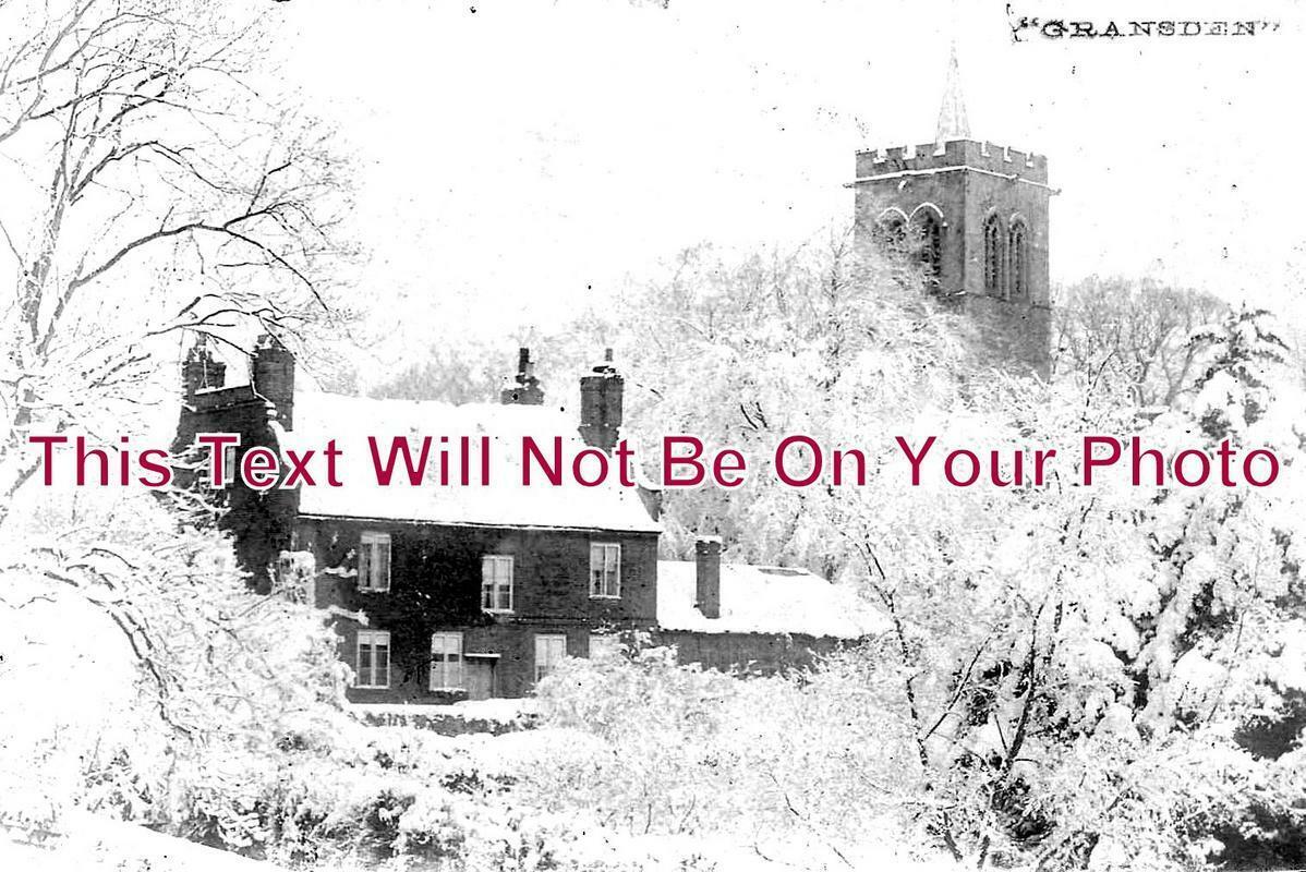 HU 133 - Great Gransden Vicarage & Church Snow Scene, Cambridgeshire
