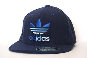 Adidas-Originals-POUNCER-II-Flat-Bill-FlexFit-Mens-Cap-Blue-5124374B