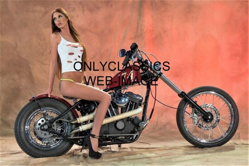 SEXY GIRL ON VINTAGE HARLEY DAVIDSON MOTORCYCLE CHOPPER PHOTO CHEESECAKE PINUP