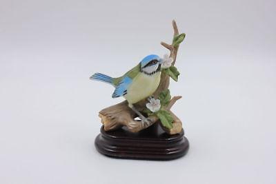 Singvogel Meise auf Ast sitzend + Holzsockel
