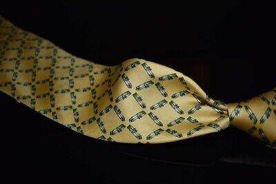 J. Press Made in England Lemon Yellow Foulard Silk Asparagus Bunches Chef Tie NR