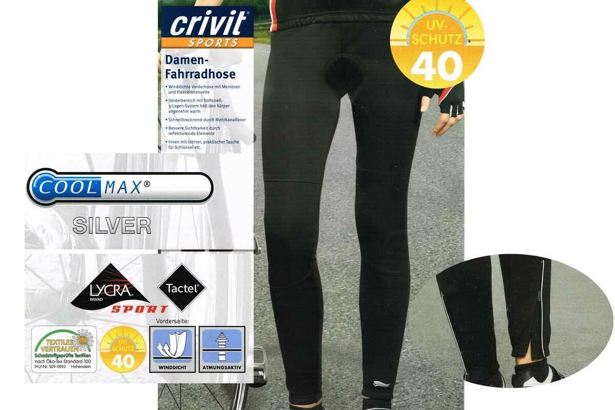 Damen Fahrradhose lang schwarz COOLMAX®SILVER® Sitzpolster LYCRA®Sport S M L NEU