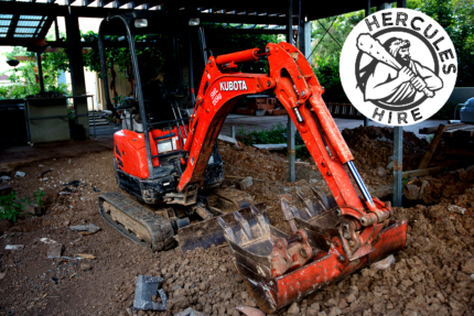 Hercules Dry / Wet Hire Kubota U17-3 1.7T Excavator - Rocklea