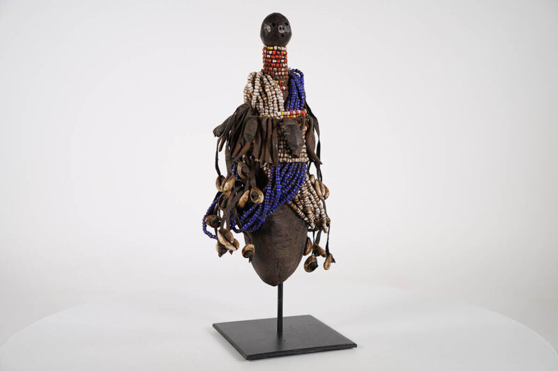"""African Beaded Doll Figure 14"""" with Stand   African Art"""