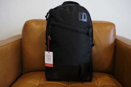 Topo Designs Daypack Ballistic Black / Leather - EXCELLENT AS NEW