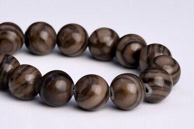 8MM Natural Coffee Brown Swirl Jasper Grade AAA Round Gemstone Loose Beads 7.5