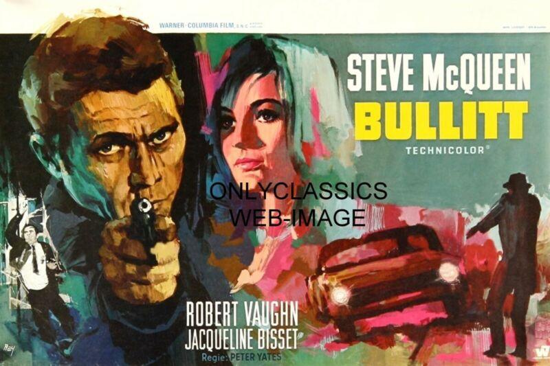 STEVE MCQUEEN JACQUELINE BISSET BULLITT MOVIE RAY ELSEVIERS BELGIAN ART POSTER
