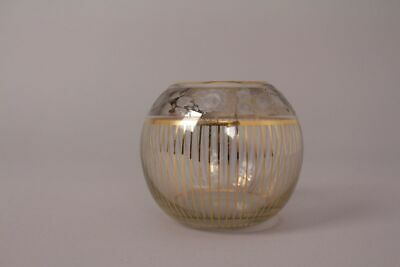 Füger And Pigeon Glass Vase Gold Painting Gold Stripes Hand Painted Polished