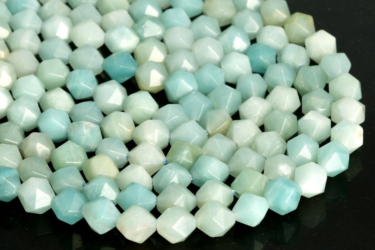 7-8MM Blue Amazonite Star Cut Faceted Grade A Genuine Natural Loose Beads 7.5/""