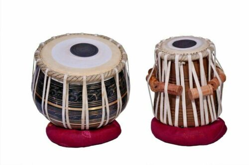Brass Tabla Set Black Polish Mango Wood Dayan INDIAN MUSICAL INSTRUMENT Leather