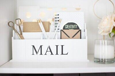 Blu Monaco White Wooden Mail Organizer - 3 Tier White Desk Organizer