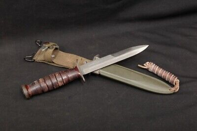 WWII US Imperial M3 Trench Knife Stacked Leather Handle & USM8 BMCO Scabbard