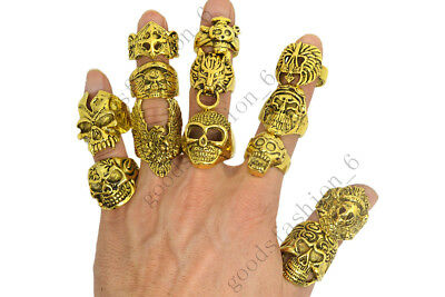 20pcs Wholesale Lots Mixed Skull Gold Men's Rings Jewelry Biker Punk Ring FREE - Punk Wholesale