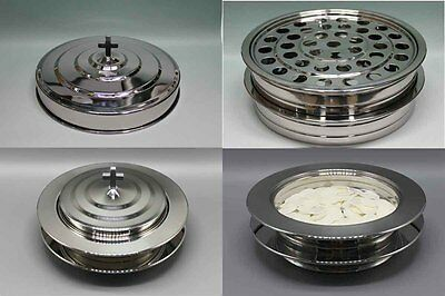2 Stainless Steel Communion Trays With 1 Lid And 2 Bread Trays With 1 Lid