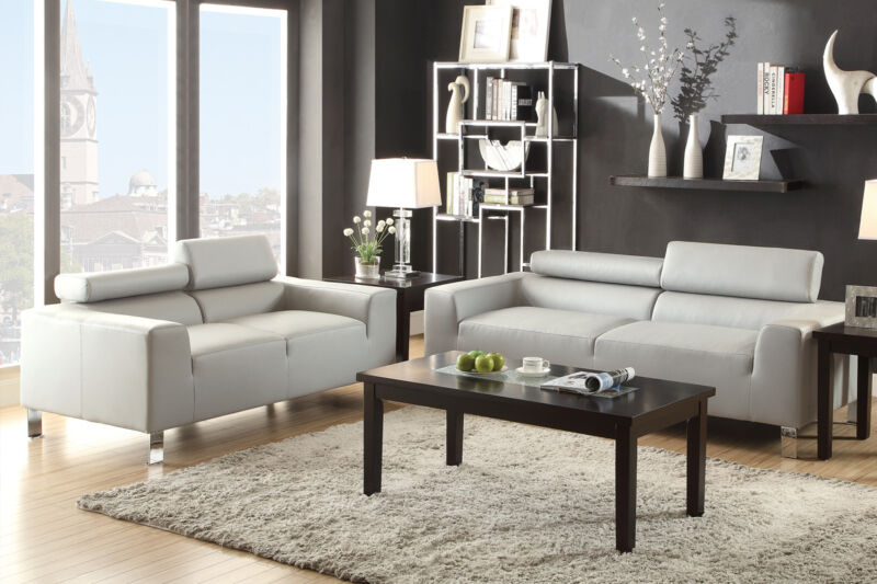 Sectional Sofa Grey Sofa Loveseat Adjustable Headrests Living Room Furniture Set