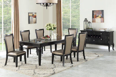 ELEGANT 7 PC ESPRESSO DINING TABLE SET W/ GLASS INSERTS & LEATHERETTE CHAIRS