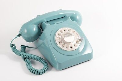 GPO 746 Telephone - Retro Vintage Style Desk Phone - Working Rotary Dial - Blue