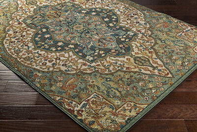 Medallion Rug - Traditional Oriental Medallion Blue Green Area Rug **FREE SHIPPING**