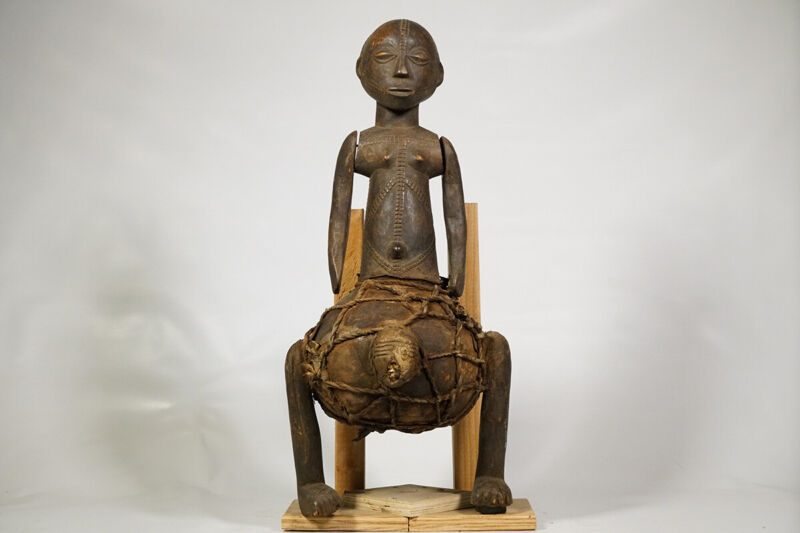 """Articulated Tabwa Figure with Gourd 22.5"""" - DRC - African Art"""