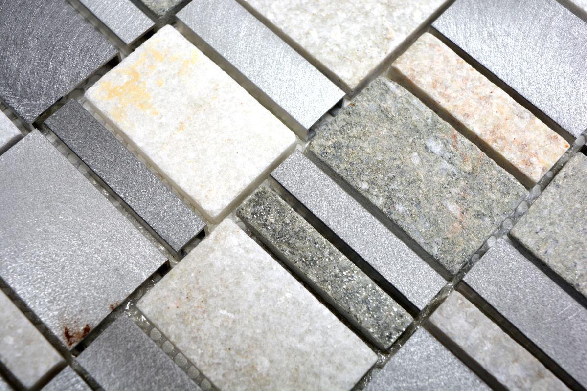Mosaïque naturel pierre aluminium argent gris clair beige mur 49 ...