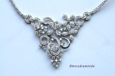 6.5ct E VS round diamond fashion collar flower designer necklace 14 white gold