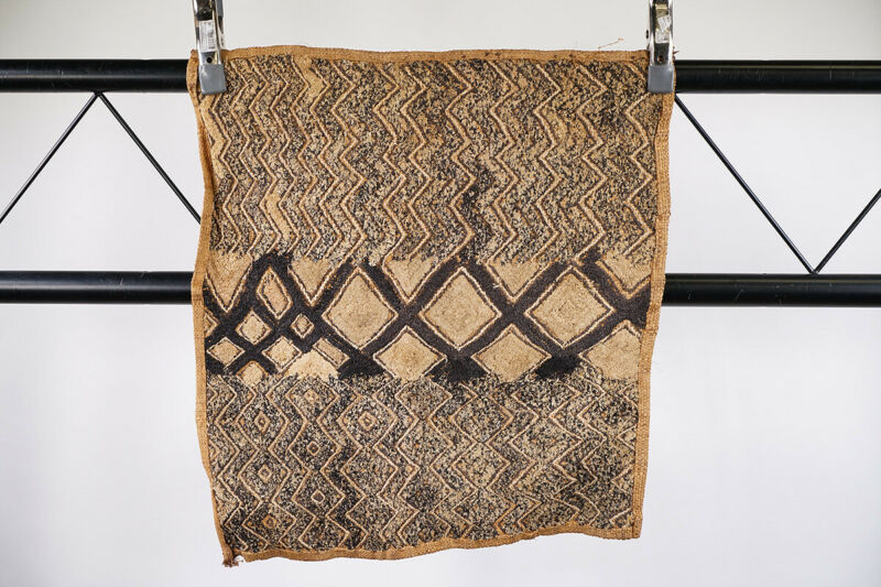 """Kuba Cloth with Unique Pattern 22"""" x 20"""" - DRC - African Art"""