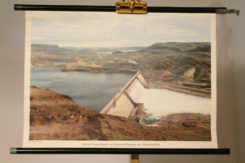 Schulwandkarte Role Map Chart Grand Coulee Roosevelt Reservoir Columbia River