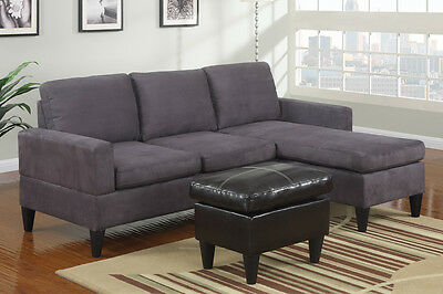 3 Pcs Sectional Sofa W/ Ottoman In Grey Couch For Living Room Furniture Set