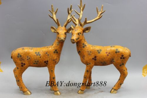 "18""china Cloisonne Purple Bronze Fengshui Sika Deer Cervus Animal Statue Pair"