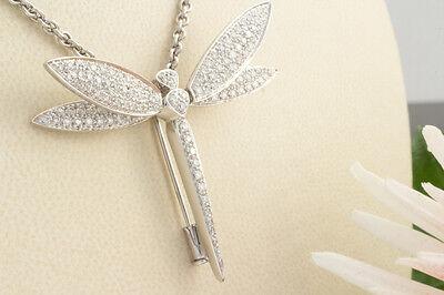 Schmuck Brosche Nadel Libelle mit beweglichen Flügeln Brillanten in 750 Weißgold
