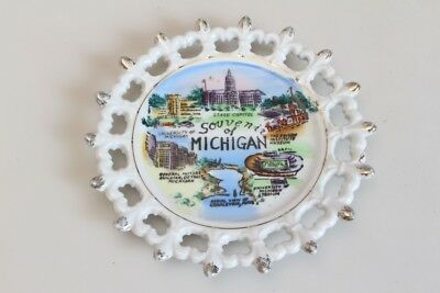 Original Vintage 1950er 50s Plate Souvenir of Michigan GM Detroit Hand Painted