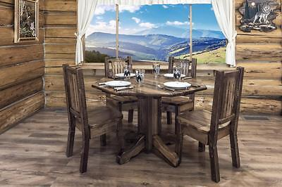 Farmhouse Dining Table and Chairs Set - Amish Made - Rustic Pine - Amish Furniture Dining Table